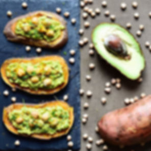 Tartines de patates douces au guacamole