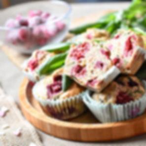 Muffins framboises basilic à la farine c