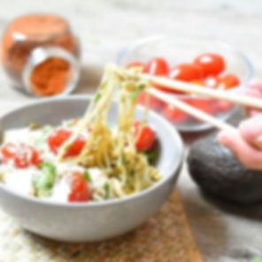Konjac au guacamole à la coriandre et au