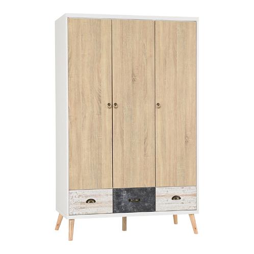 Nordic 3 Door 3 Drawer Wardrobe