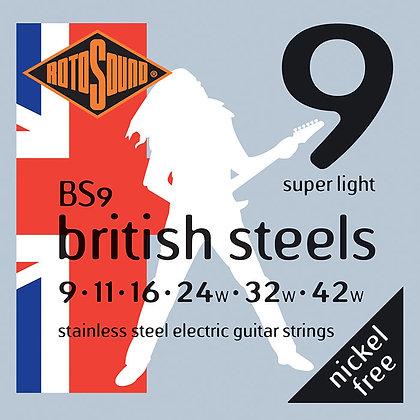 סט מיתרים 0.9 לחשמלית ROTOSOUND BRITISH STEEL
