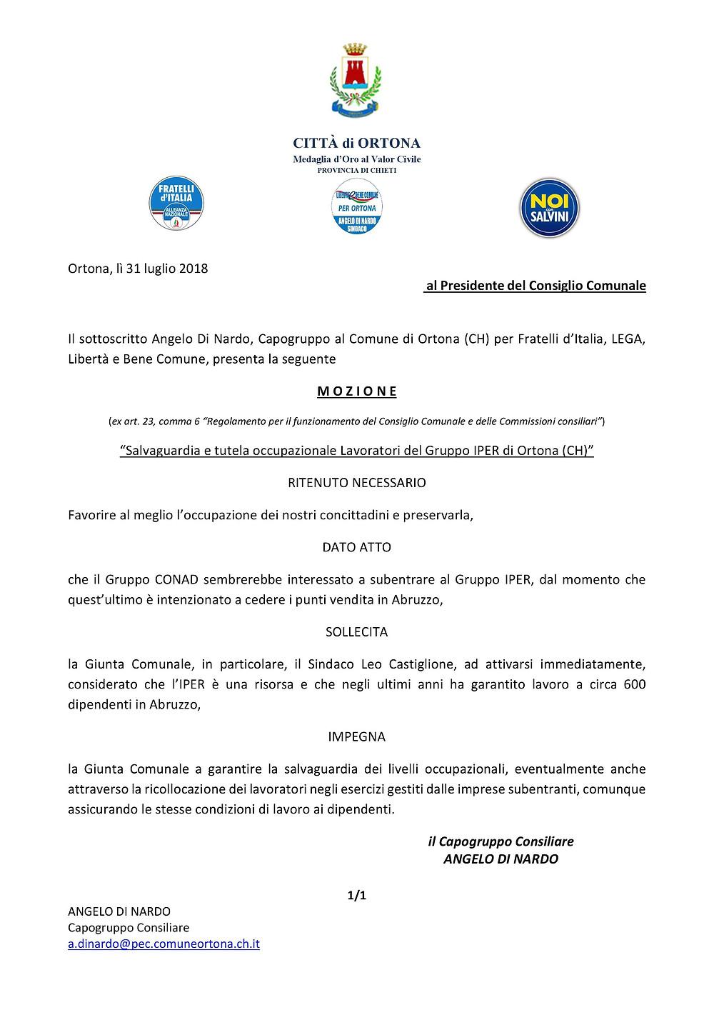 mozione Angelo Di Nardo