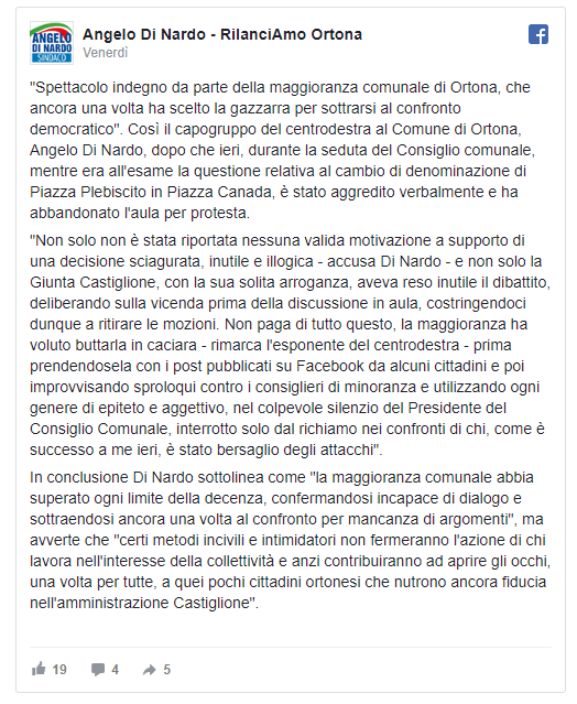 post Facebook Angelo Di Nardo