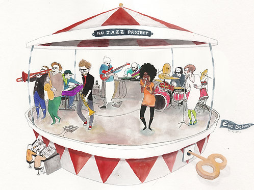 Nu jazz project postcards by Eve Deroeck