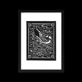 Linocut Print - Crane