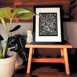 Linocut Print - Tiger