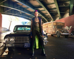 """On set of the TV show """"Gotham"""", playing the role of an assassin"""