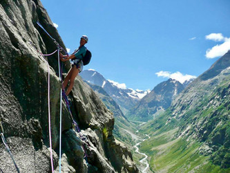 Mountain climbing in Oisan, French Alps