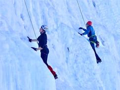 Ice climbing in Piedmont, Italy