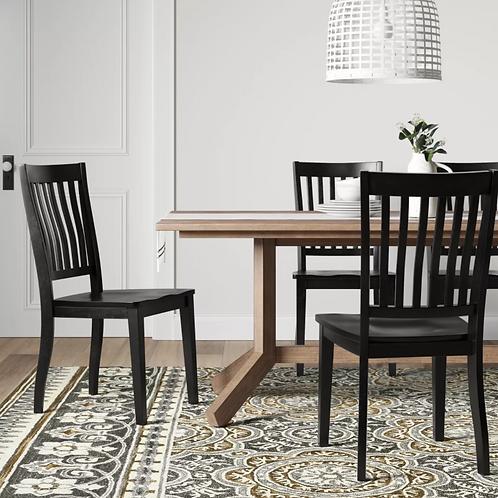 (Set of 2) Holden Slat Back Dining Chair Black