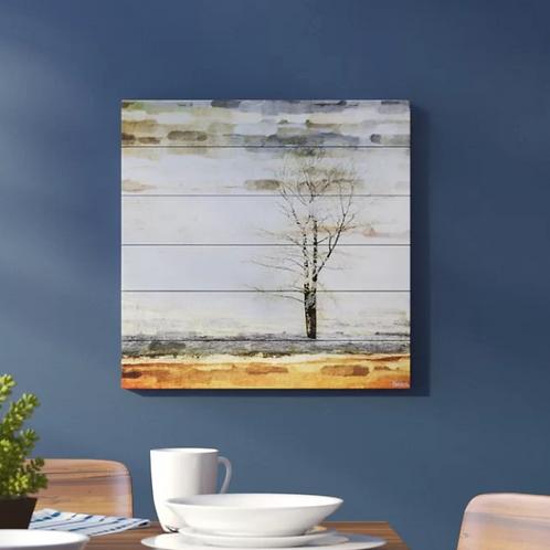 'Lone Tree' by Parvez Taj Painting Print on White Wood