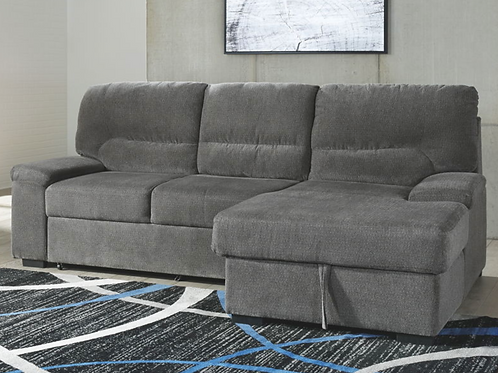 (For Order Only) Yantis - Gray - LAF Sleeper Sectional with Storage