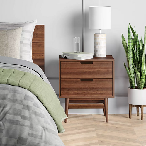 Ellwood Nightstand with Drawers Brown