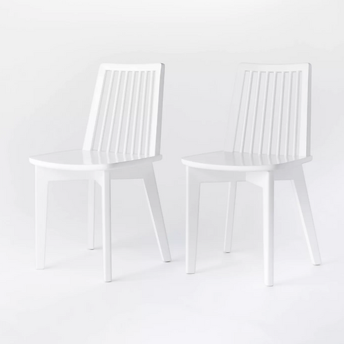 2pk Linden Modified Windsor Wood Dining Chair White