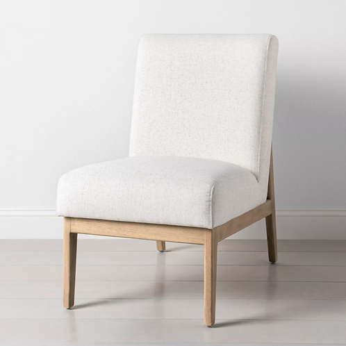 Upholstered Natural Wood Slipper Accent Chair