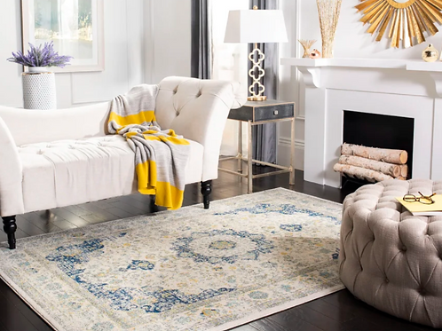 4' x 6' Elson Oriental Ivory/Blue Area Rug