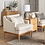 Thumbnail: Howell Upholstered Accent Chair with Wood Base Knock Down Cream