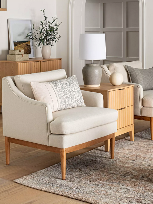 Howell Upholstered Accent Chair with Wood Base Knock Down Cream