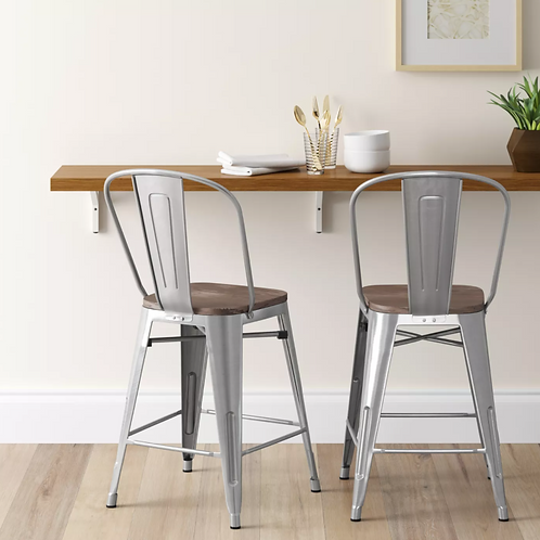 "Set of 2 24"" Carlisle Armless Barstool Natural"