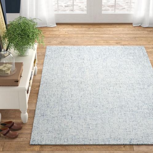 3x5 Kerley Handmade Tufted Wool Light Blue/Gray Area Rug