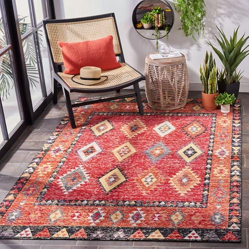 8' x 10' Briella Southwestern Red/Black/Orange Indoor / Outdoor Area Rug