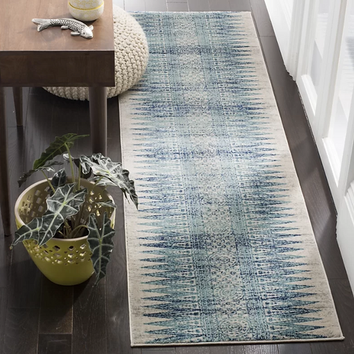 """2'2"""" x 7' Elson Turquoise/Ivory/Navy Blue Area Runner"""