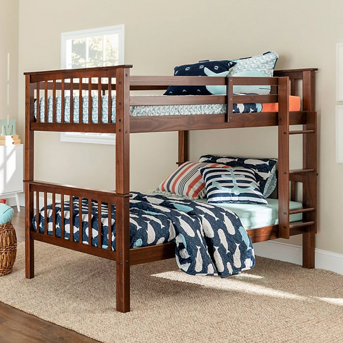 Twin Over Twin Transitional Cottage Solid Pine Bunk Bed - Walnut - Saracina Home