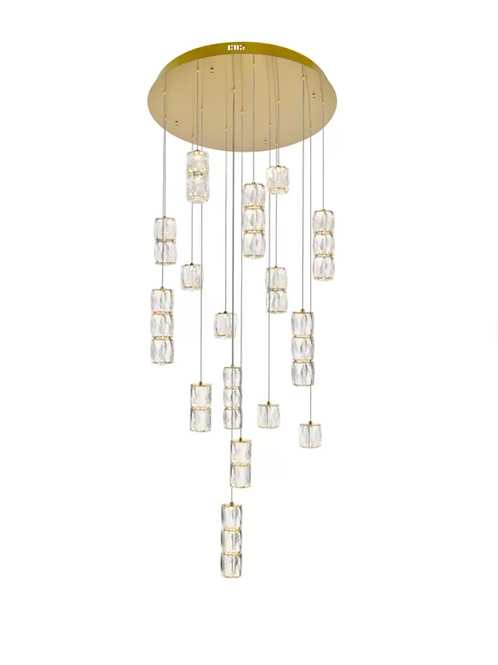 Alycia 16 - Light Cluster Cylinder LED Pendant with Crystal Accents