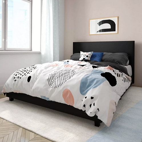 (See Note) Queen Thalia Upholstered Bed Faux Leather Black
