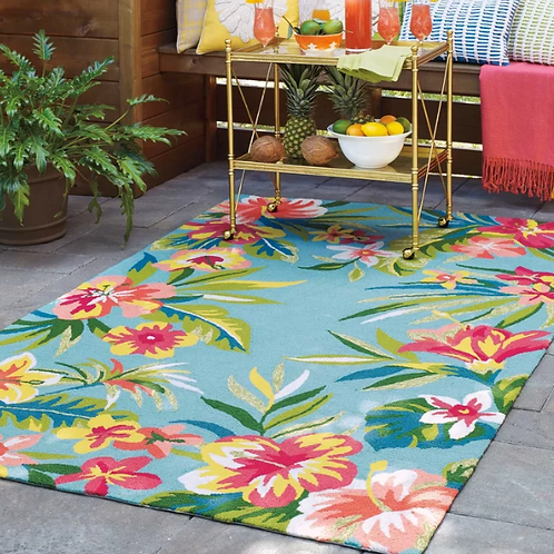 2' x 3' Mai Tai Hand-Hooked Green/Pink Indoor/Outdoor Area Rug