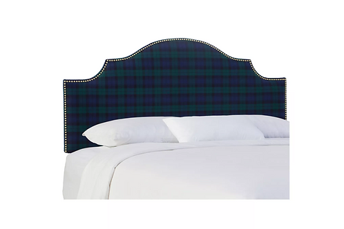 Printed Nail Button Notched Headboard, Queen, Black Watch
