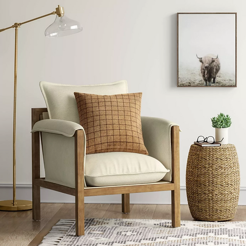 Archdale Wood and Upholstered Accent Chair - Cream