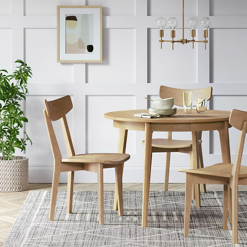 Astrid Mid-Century Round Dining Table with Extension Leaf