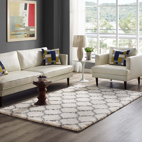 5x8 Solvea Moroccan Trellis  Shag Area Rug in Ivory and Gray