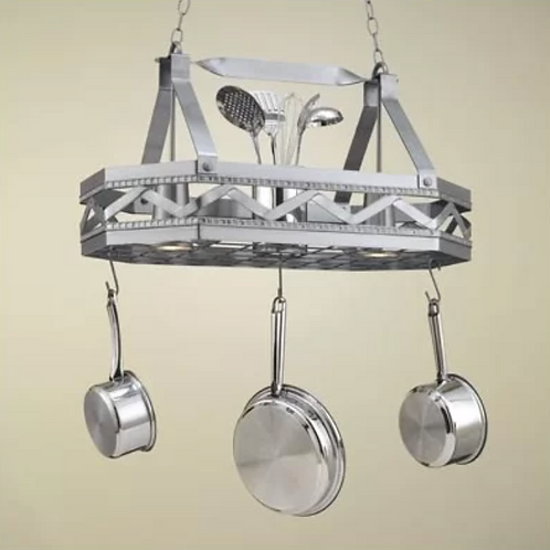8 Sided Hanging Pot Rack with 2 Lights