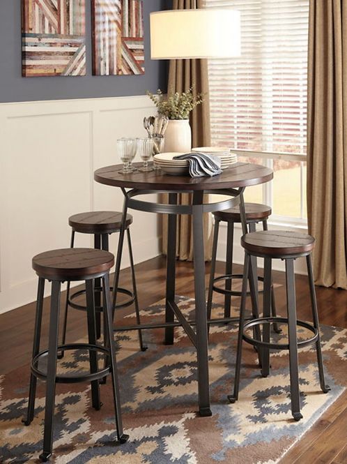 Challiman - Rustic Brown - Round Dining Room Bar Table (Table only)