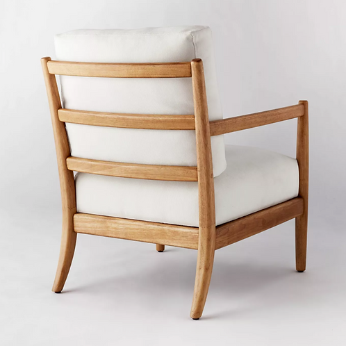 Ladder Back Wood Arm Accent Chair Cream