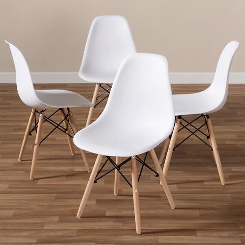 (Set of 4) Sydnea Mid Century Modern Acrylic Wood Finished Dining Chairs White