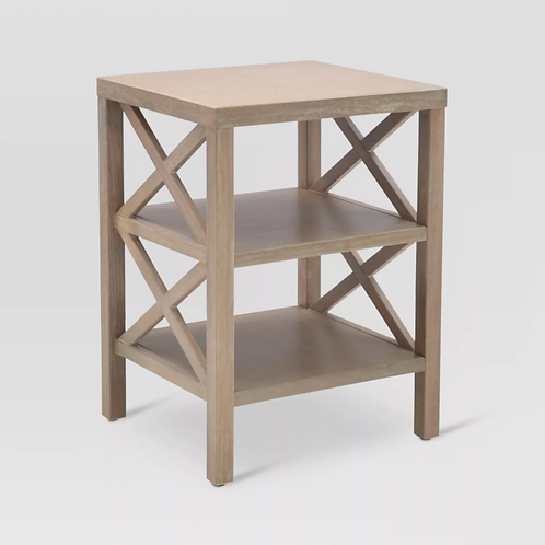 Owings End Table with 2 Shelves Rustic