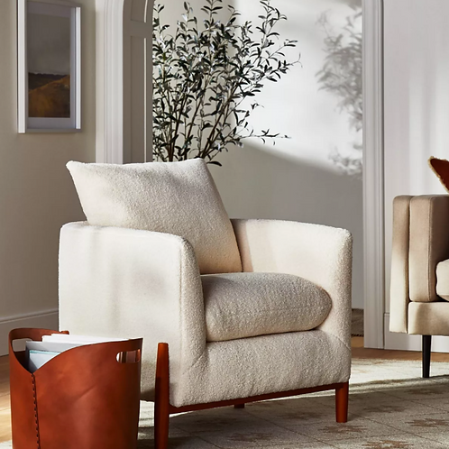 Elroy Sherpa Accent Chair with Wood Legs Cream
