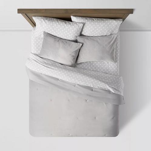 7pc Queen Vinton Velvet Comforter Set with Sheets Gray