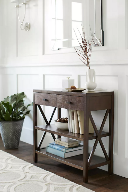 Owings Console Table with 2 Shelves and Drawers Espresso Brown