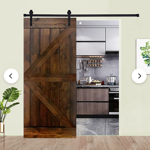 Paneled Wood Painted Barn Door without Installation Hardware Kit