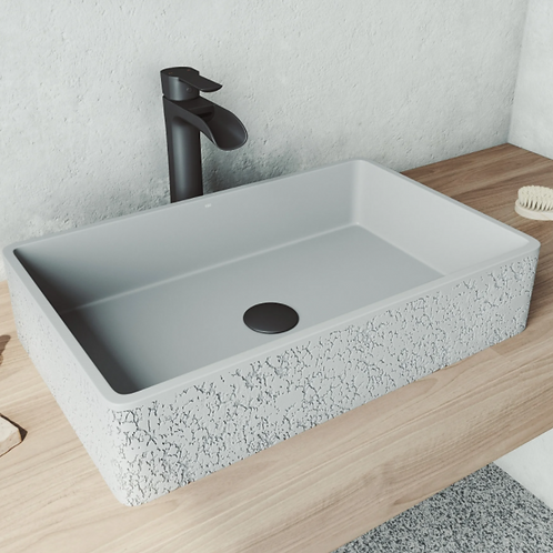 Dahlia Rectangle Concrete Vessel Bathroom Sink Set In Ash With Faucet In Matte B