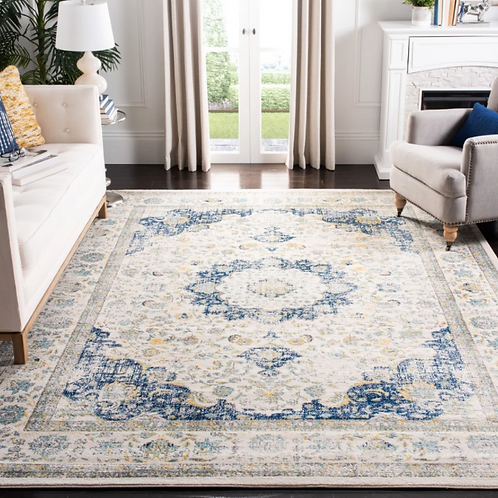 """6'7"""" x 9' Elson Oriental Ivory/Blue Area Rug"""