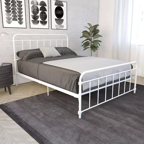 Waldorf Metal Bed, White Queen