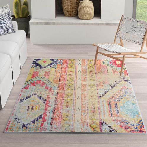 "4' x 5'7"" Newburyport Orange/Blue/Pink Area Rug"