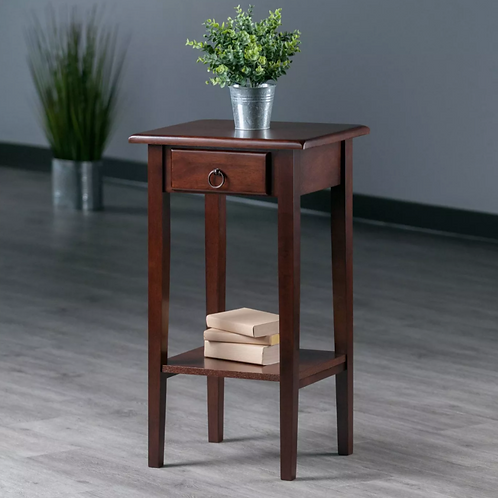 Regalia Accent Table with Drawer, Shelf - Antique Walnut - Winsome
