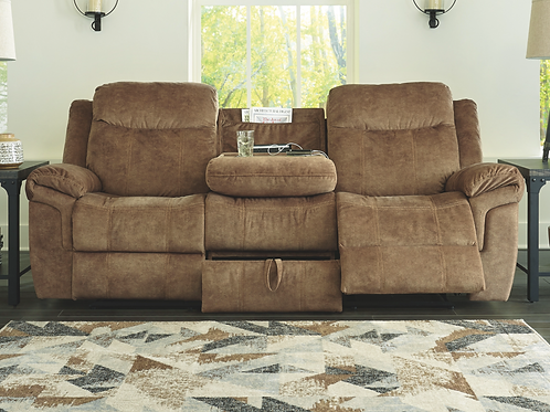 Huddle-Up - Nutmeg - REC Sofa w/Drop Down Table (Order Only)