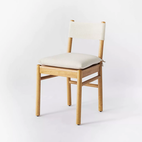 Knock Down Emery Wood Dining Chair with Upholstered Seat and Sling Back Natural